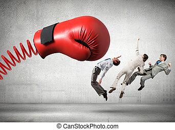 businesspeople, vecht, met, boksende glove