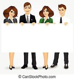 businesspeople, vide, tenue, panneau affichage