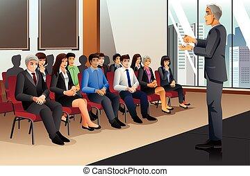 businesspeople, w, seminarium