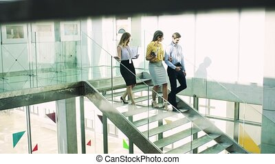 Businesspeople walking down the stairs in the modern building, talking.