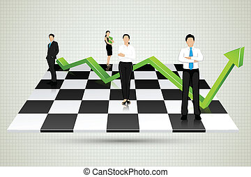 Businesspeople with arrow standing on Chessboard