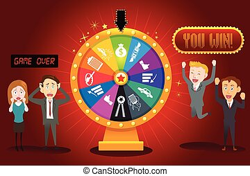 Businesspeople with Financial Wheel of Fortune - A vector...