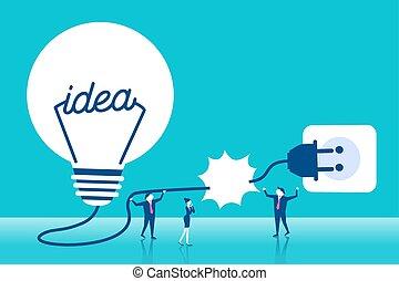 businesspeople with light bulb - cute cartoon business...