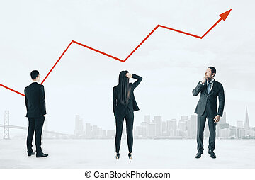 Businesspeople with red chart arrow