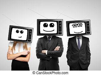 businesspeople with tv head