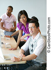 businesspeople working in the office