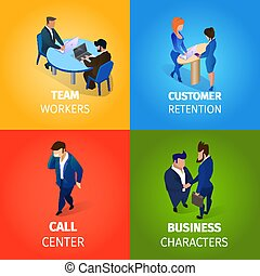 Businesspeople Working Process in Office Set