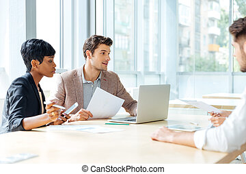 Businesspeople working together in conference room