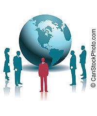 businesspeople, y, un, globo