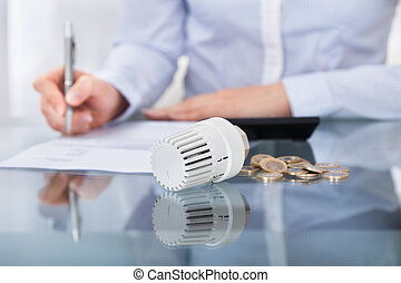 Businessperson Analyzing Invoice - Close-up Photo Of...