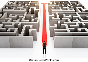 Businessperson standing next to red arrow cutting through maze. 3D Rendering