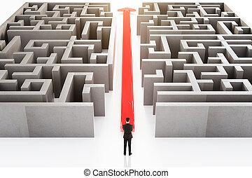 Businessperson and maze - Businessperson standing next to ...