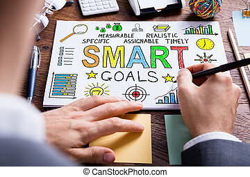 Businessperson Drawing Smart Goal Concept On Paper
