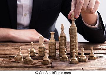 businessperson, elrendezés, sakk vég, képben látható,...