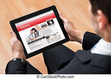 businessperson, felolvasás, hír, online
