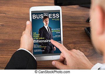 Businessperson Holding Mobile Phone With News