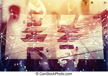 Businessperson in office with network effect. concept of partnership and teamwork. double exposure