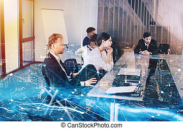 Businessperson in office with network effect. concept of partnership and teamwork