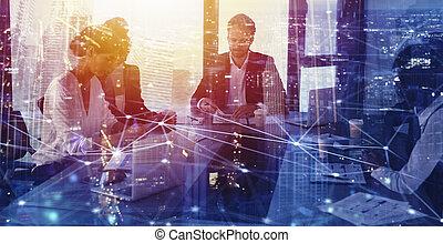 businessperson, in, ufficio, con, rete, effect., concetto,...