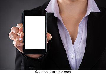 businessperson, kiállítás, mobile telefon