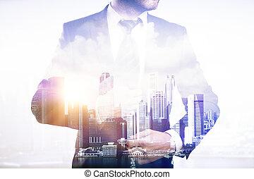 businessperson, ligado, cidade, fundo, multiexposure