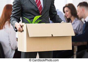 businessperson, presa a terra, averi, in, scatola cartone
