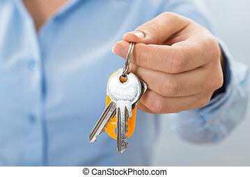 businessperson, presa a terra, chiave, mano