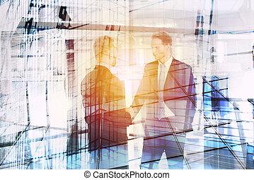 businessperson, que, falar, em, escritório., exposição dobro