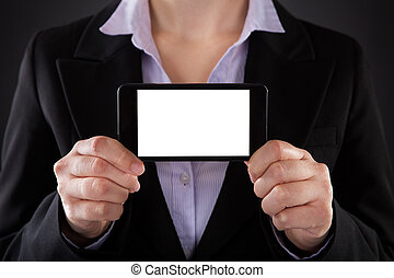 Close-up Of Businessperson Showing Blank Screen Mobile Phone