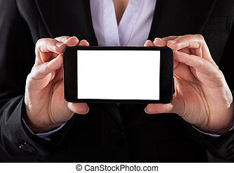 Businessperson Showing Mobile Phone - Close-up Of...