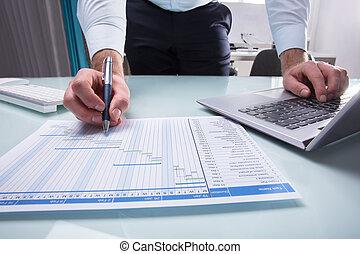 Businessperson Working On Gantt Chart