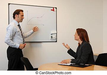 businesss, ミーティング, 2人の人々, 論じる, 上に, 未来, 経済, 開発