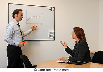 Businesss Meeting, Two People Discussing On Future Economic...