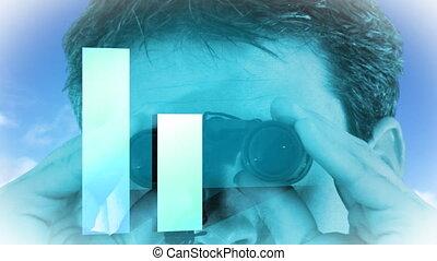 Businesssman looking into Binoculars