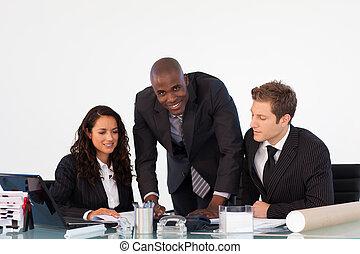 businessteam, besprechen, a, neu , plan