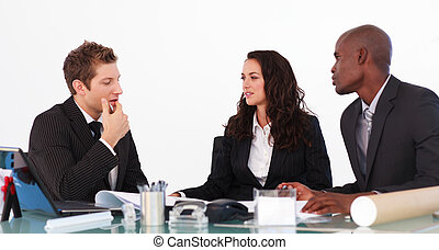 businessteam, unterhalten, über, a, neu , plan