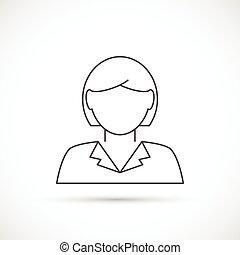 businesswoman, 线, avatar, 稀薄, 图标