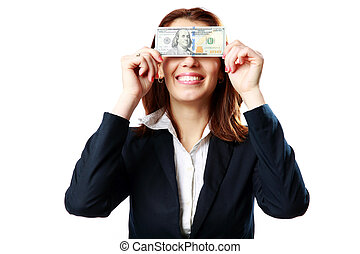 businesswoman, 美元, 隔离, 我们, 背景, 乐趣, 白色, 有