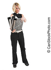 Business woman in black outfit with files