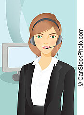 A vector illustration of a businesswoman wearing a headset