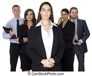 Businesswoman - A young business executive standing in front...