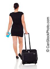 businesswoman, aanzicht, het reizen, achterkant, lucht