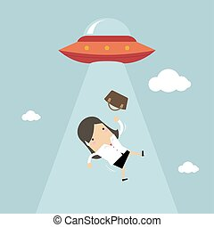 Businesswoman abducted by UFO.