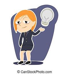 businesswoman, aflægger, hende, nej, ide