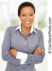 businesswoman, amerikaan, moderne, kantoor, afrikaan