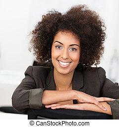 businesswoman, amerikaner, bedårende smile, afrikansk