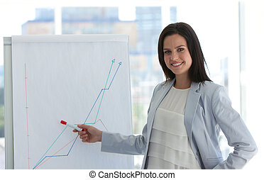 Businesswoman analysing the stock market in her company