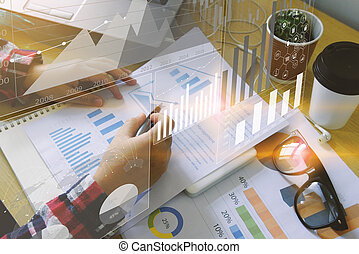 Businesswoman analysis diagram. Business graph background. financial graph