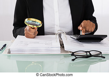 Businesswoman Analyzing Bills