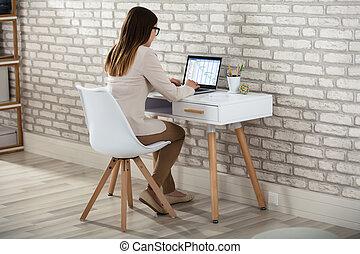 Businesswoman Analyzing The Gantt Chart
